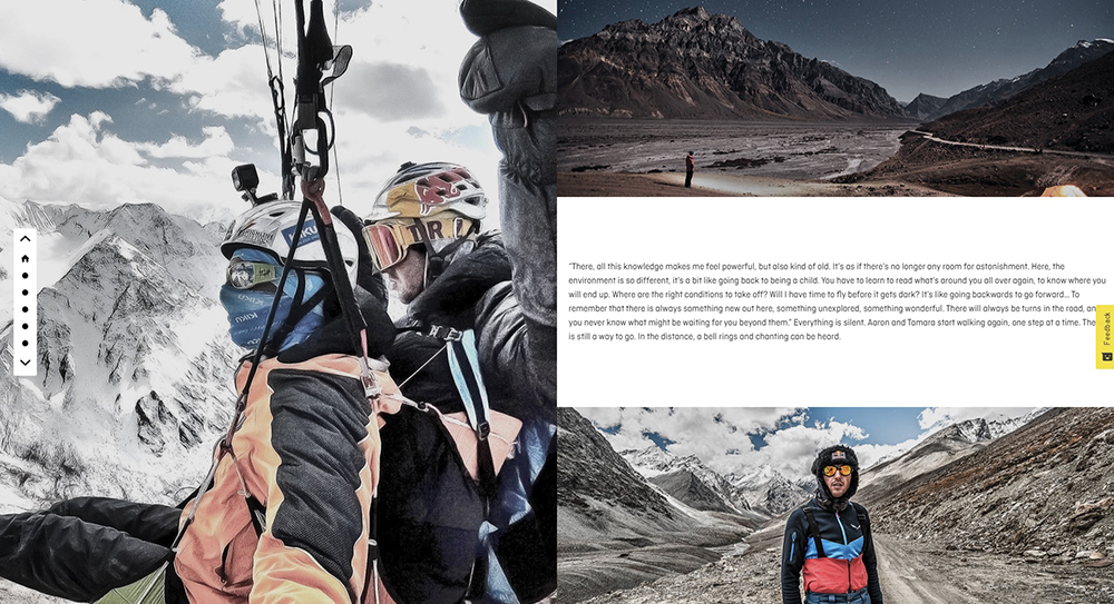 Screenshot of Salewa Storytelling in online shop